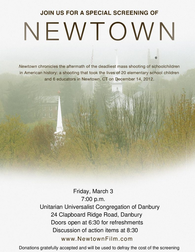 NEWTOWN Screening in Danbury @ Unitarian Universalist Congregation of Danbury | Danbury | Connecticut | United States